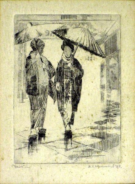 1009: Rain by E. V. Hammond 1928 Engraving