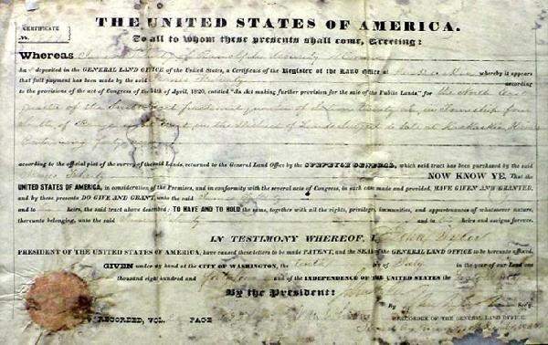 1011: Pres. John Tyler Land Grant