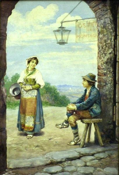 1015: Italian Lovers In Archway By Alberto Collina