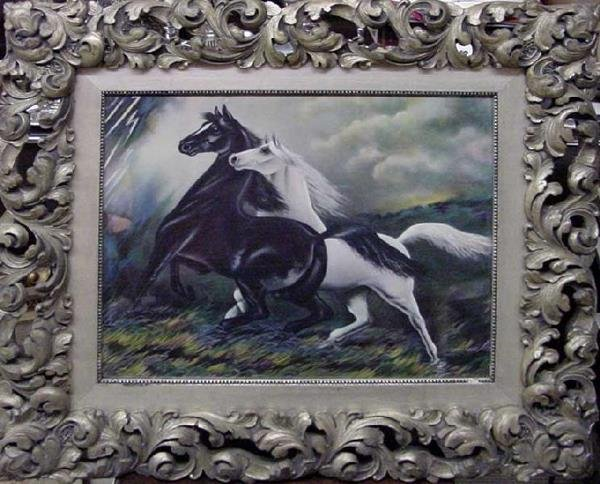 1072: 2 Horses In Storm, Late 19th Century Print