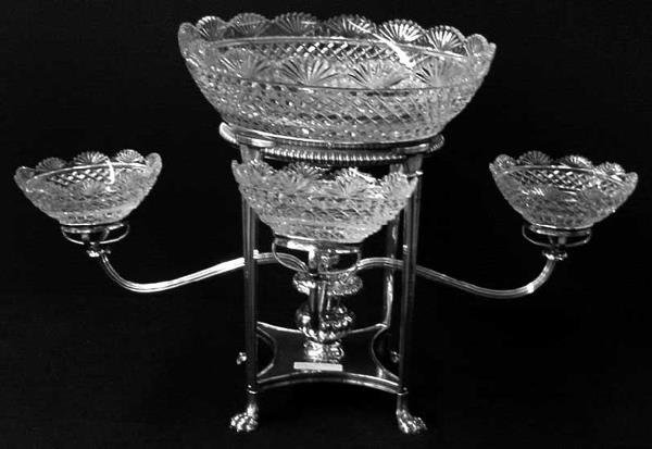 2110: Classical Epergne, Silver Plated, Animal Paw Feet