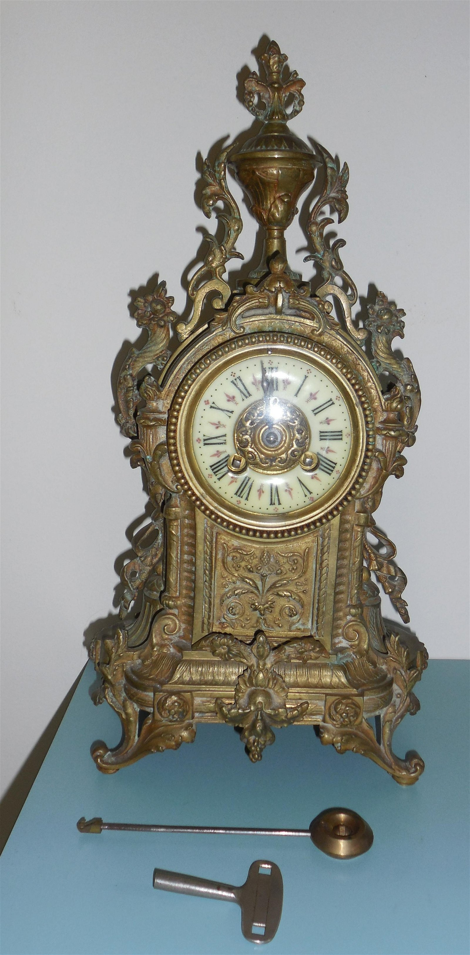 19th Cent French Bronze Mantle Clock