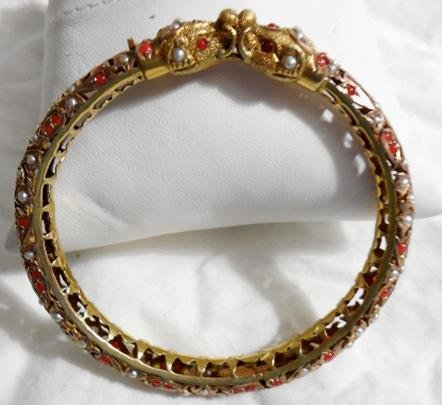Kissing Serpeants YG Bracelet Indian