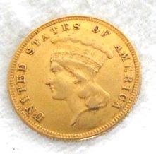 1885 $3 Gold Coin