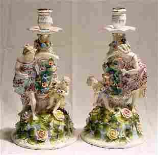 Pr. Porcelain Candlesticks w/Classical Figures