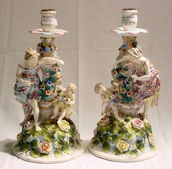 1002: Pr. Porcelain Candlesticks w/Classical Figures