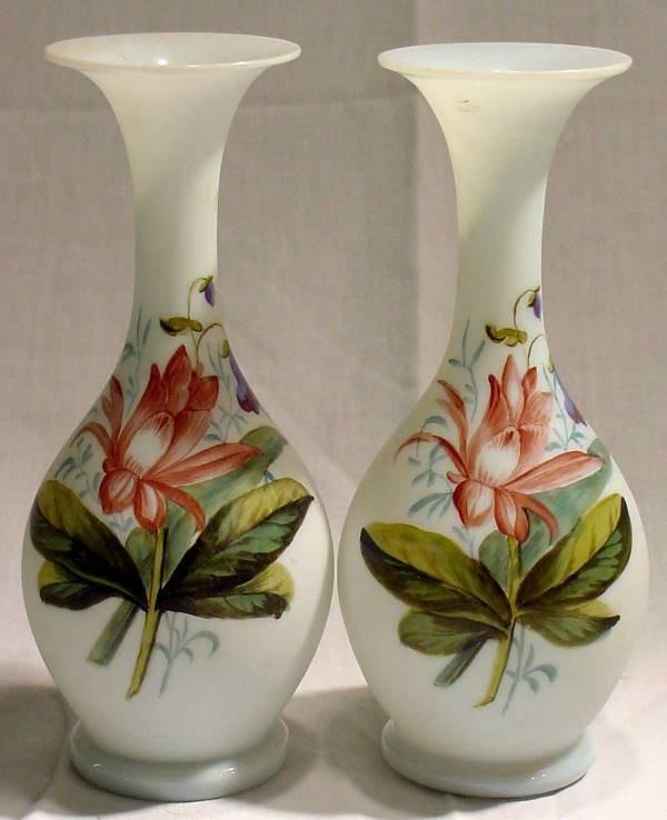 1011: Pr. 19th Cent. Bristol Glass Vases