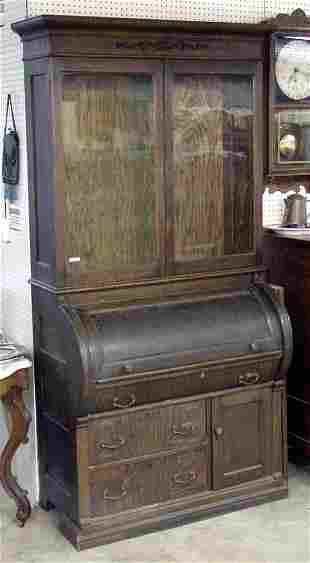 Oak Cylinder Secretary w/Bookcase Top