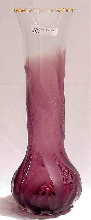Purple Etched Art Glass Vase