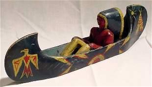 Indian Folk Art Canoe w/Brave
