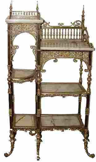 Brass Victorian Marble Top Etagere