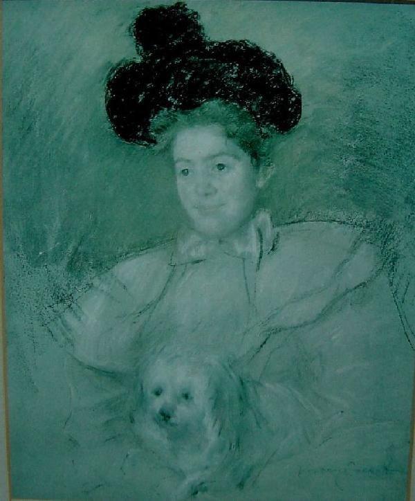 Mary Cassatt  - Portrait of Lady in Hat w/Dog