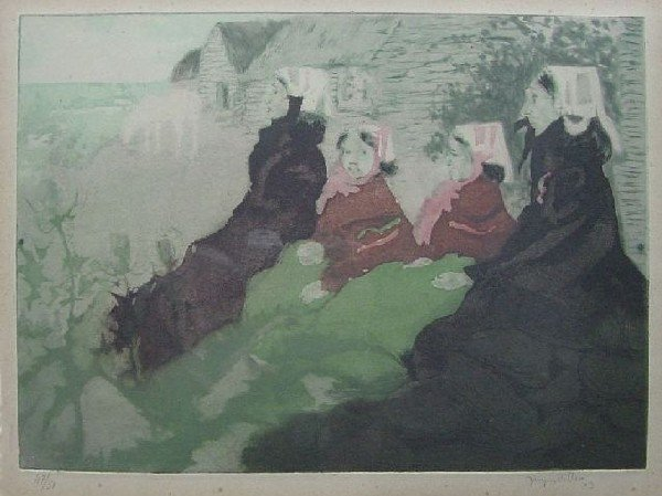 Jacques Villon - Grandmother with Daughter and 2 Grandc