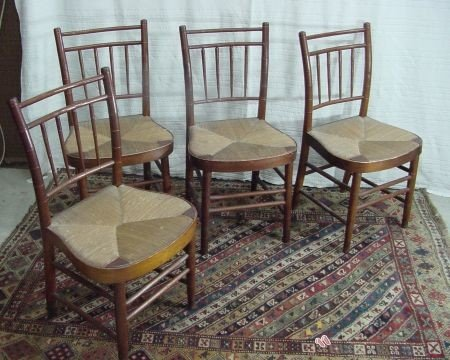 11: Set Of 4 Bamboo Turned Side Chairs