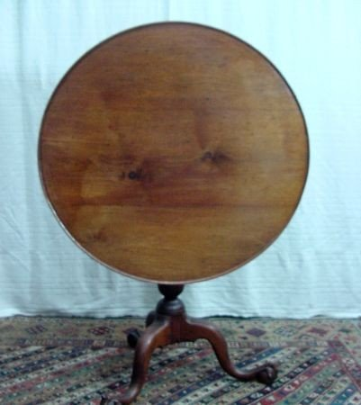 19: American 19th Cent. Round Tilt Top Table W/Pie Crus