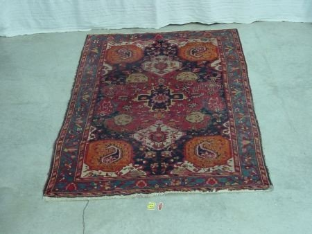 21: Antique Oriental rug, Red And Blue Color Themes