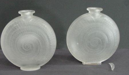 26: Pair Of R. Lalique Snail Vases