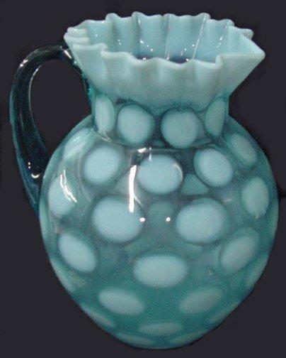 4: A Coin Spot Blue Opalescent Water Pitcher
