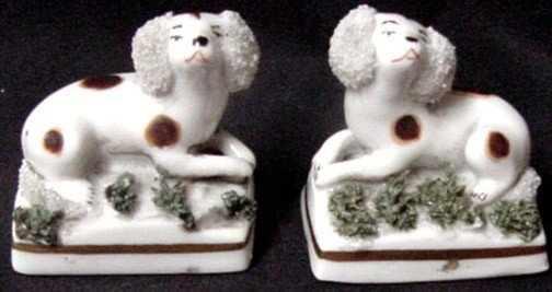 7: A Pr. Victorian Miniature Staffordshire Dogs
