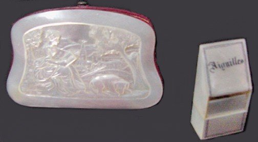 8: A Mother of Pearl Victorian Purse & Needle Case