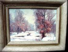 124: A Kaye Pool Brown County Indiana Winter Oil On Boa