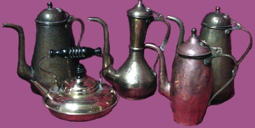 321: A Group of Brass Tea & Coffee Pots