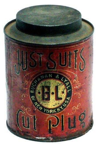 522: Just Suits Cut Plug Tobacco Tin