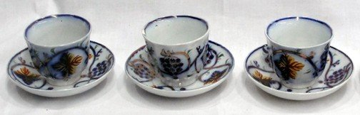 8: A Set 3 Gaudy Ironstone Handle less Cups & Saucers