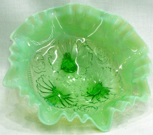 14: A Green Opalescent Footed Center Bowl