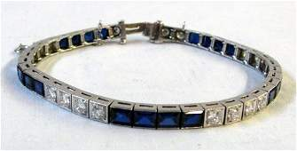 125 An Art Deco Platinum  Diamond Line Bracelet