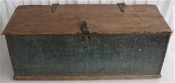 337: A Blanket Chest w/Old Blue Green Paint