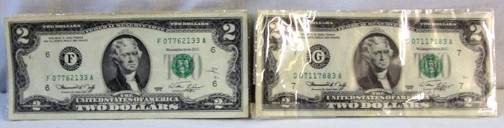 1263: 9 $2 Green Seal Federal Reserve Notes