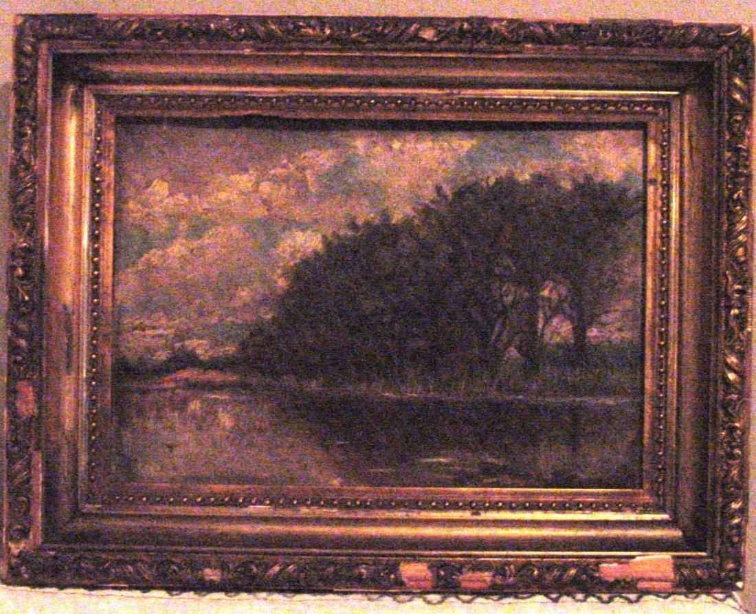 A Barbizon Landscape Oil on Board
