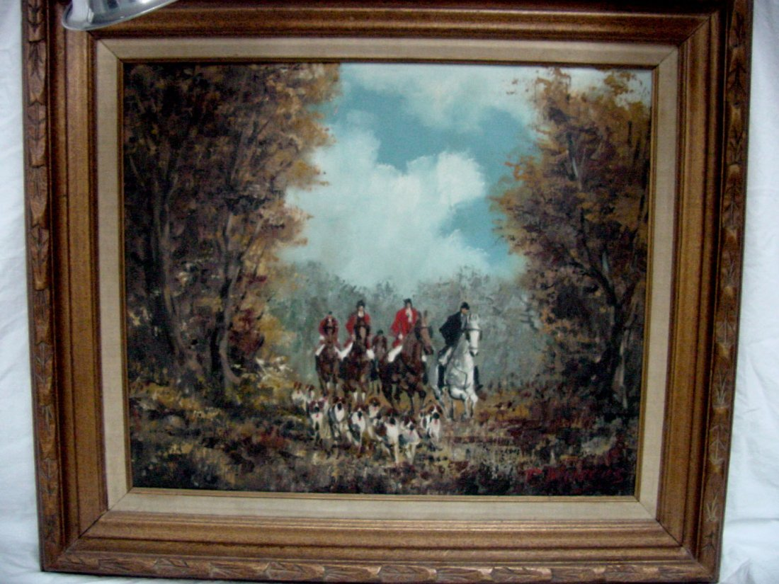 72: A P. Marcus Fox Hunting Oil Painting