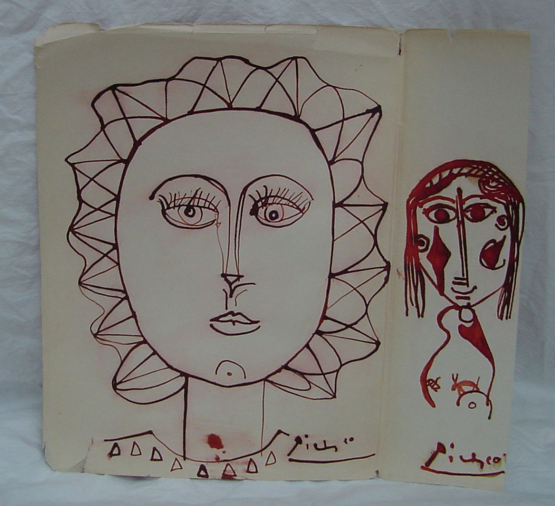 175: A Picasso Original Red Ink Drawing