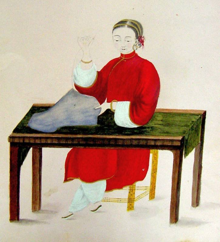 19th Cent. Chinese Lady w/Bound Feet Sewing Watercolor