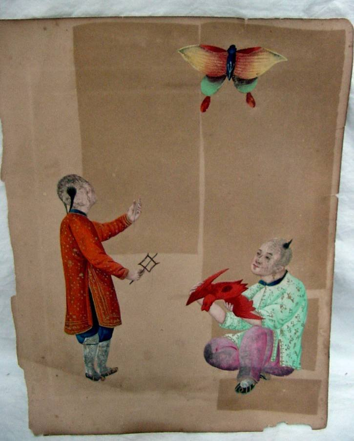 19th Cent. Chinese Boys w/Kites
