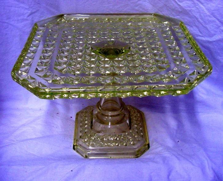 Yellow Vaseline Square Cake Stand