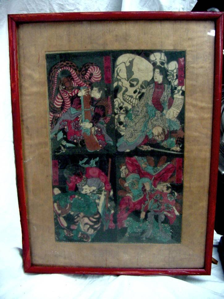 Kuniyoshi Silk Screen Sword Warrior