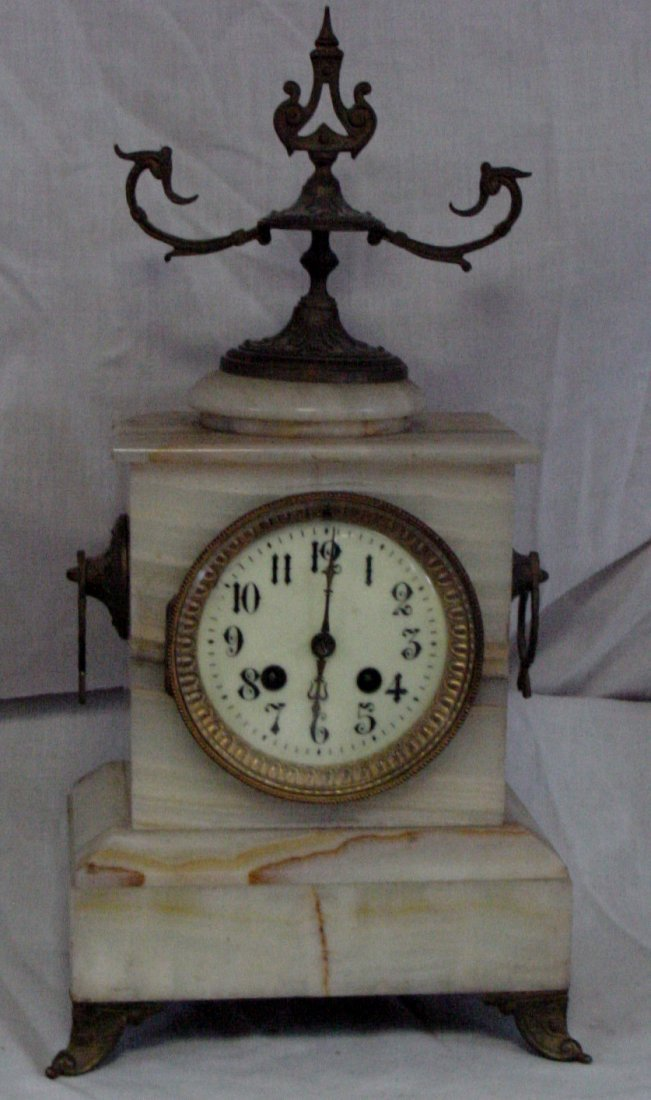 French Onyx Mantle Clock