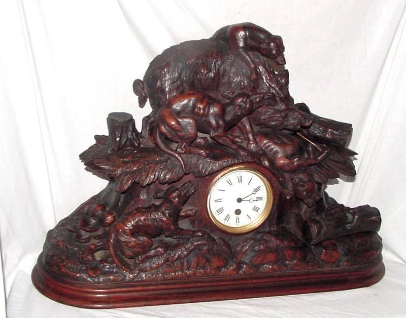 S. Mirti Black Forest Hunting Scene Clock
