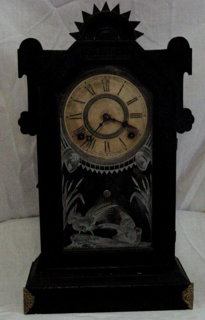 Ebonized Kitchen Clock w/Pheasants
