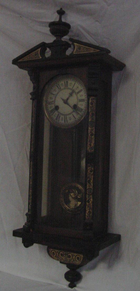19th Cent. Wall Inlaid Regulator Clock European