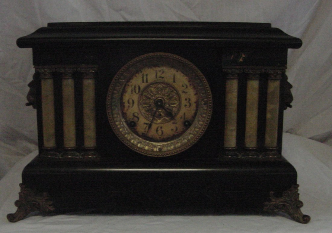 Seth Thomas Black Lacquer Mantle Clock