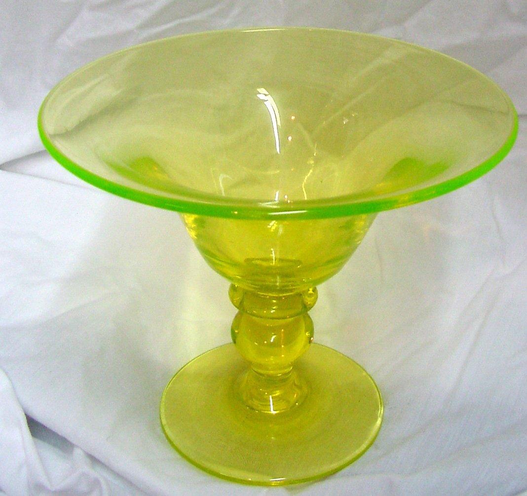 Vaseline Glass Compote