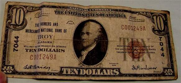 1929 Troy, Alabama $10 National Currency