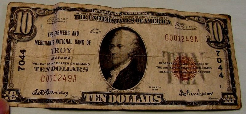 1929 Troy, Alabama $10 National Currency