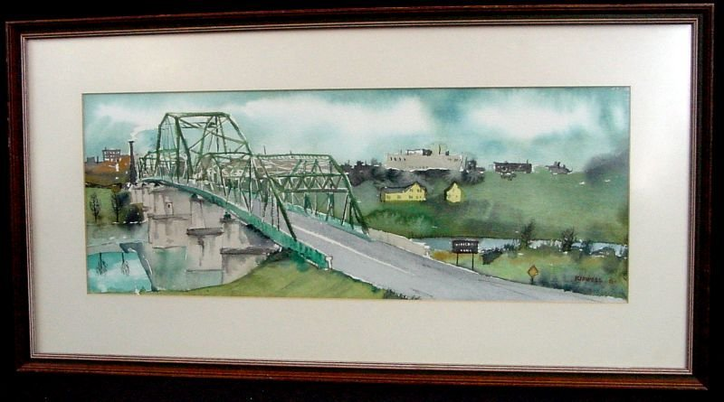Bill Kidwell Gay St Bridge Knoxville Tenn. Watercolor