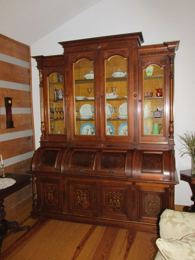 Triple Cylinder Walnut Secretary 1860-80