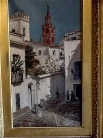 Anne H Bradford A Street Scene in Seville Oil